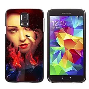 Qstar Arte & diseño plástico duro Fundas Cover Cubre Hard Case Cover para SAMSUNG Galaxy S5 V / i9600 / SM-G900F / SM-G900M / SM-G900A / SM-G900T / SM-G900W8 ( Woman Red Head Fire Witch Eyes Wizzard)