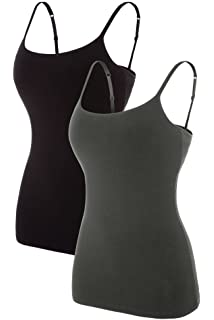 94e750f0765099 CharmLeaks 2 Pack Womens Cotton Camisole Sleeveless Cami Vest Top Yoga Tank  Tops