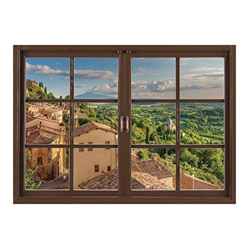 SCOCICI Removable 3D Windows Frame Wall Mural Stickers/Tuscan,Sunset Rural Landscape Cypresses Forest Hills Greenery Blue Sky Clouds,Ivory Green and Blue/Wall Sticker Mural