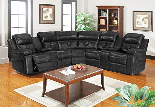Kings Brand 3-Piece Reclining Sectional with Cup Holders & Storage Consoles, Black
