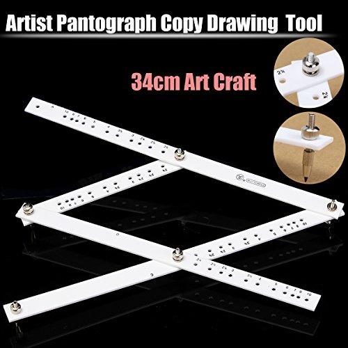 CAVEEN Artists Plexiglass Pantograph 34cm Artist Drawing Tool Reducer Enlarger Recreate Copy 10 Times Scaling Ruler