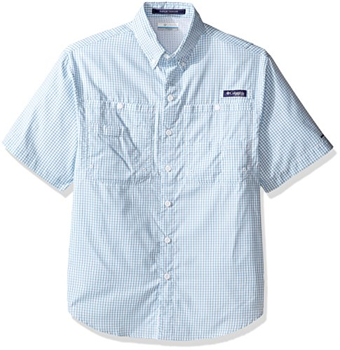 Columbia Sportswear Men's Super Tamiami Short Sleeve Shirt, Deep Marine Gingham, Small