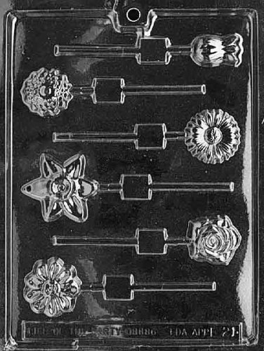 Cybrtrayd Life of the Party F021 Daisy Rose Tulip Iris Marigold Flowers Lolly Chocolate Candy Mold in Sealed Protective Poly Bag Imprinted with Copyrighted Cybrtrayd Molding Instructions - Iris Plastic Mold