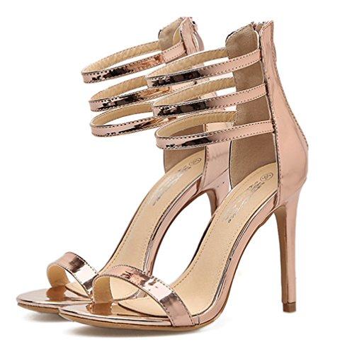 Zehen Klassisch Reißverschluss Knöchelriemchen Damen Sandale Stiletto mit High Offene Aisun Heels Champagner q1txwvSw