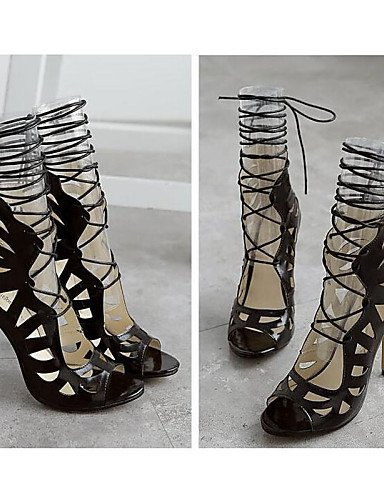 ShangYi Womens Shoes Synthetic Stiletto Heel Peep Toe Sandals Wedding / Party & Evening / Dress / Casual Black / White Black