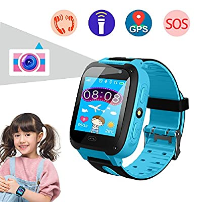 Smart Watch for Kids, Kids Phone Watch with Camera, Qilampe GPS Tracker Game Watch Support Calls Touchscreen Anti-lost SOS Bracelet Children Holiday Birthday Gifts(SIM Card Not Included)