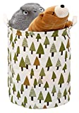 Zooawa Toy Storage Bin / Laundry Hamper, Large Collapsible Organizer Bin Waterproof Foldable Standing Toy Chest Basket with Drawstring & Handles - Colorful Tree