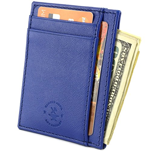 Hammer Anvil RFID Blocking Minimalist Genuine Leather Slim Front Pocket Wallet CH Blue
