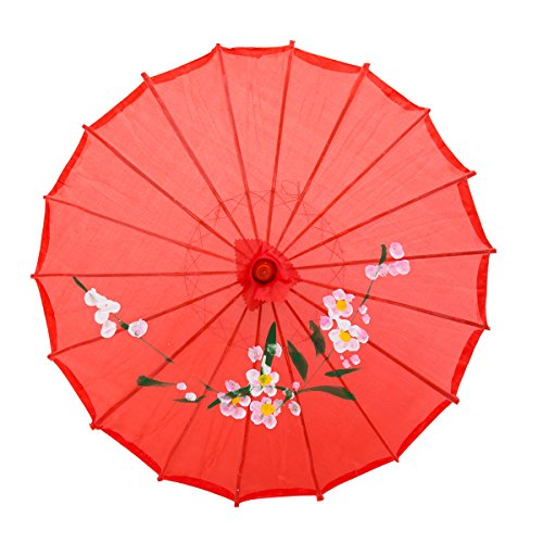 "THY COLLECTIBLES 33"" Japanese Chinese Umbrella Parasol For Wedding Parties, Photography, Costumes, Cosplay, Decoration And Other Events (Red)"
