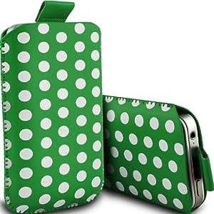 Samsung I9190 Galaxy S4 mini Protección Premium Polka PU ficha de extracción Slip In Pouch Pocket Cordón piel cubierta de liberación rápida Caja verde y blanca por Spyrox