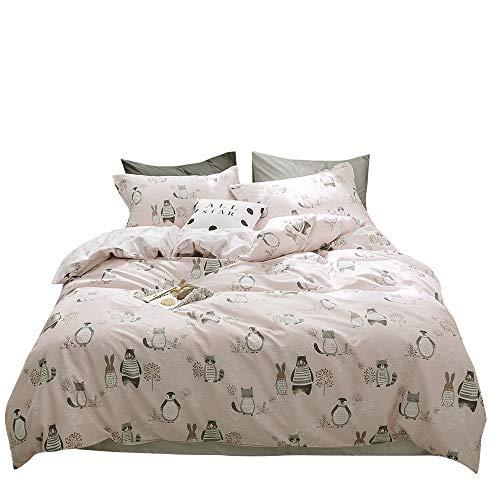 BuLuTu Animal Kids Duvet Cover Queen Pink Girls 100% Cotton,Premium Reversible 3 Pieces Toddler Bedding Sets Full Zipper Closure,Raccoon Rabbit Bear Print,No Comforter by BuLuTu