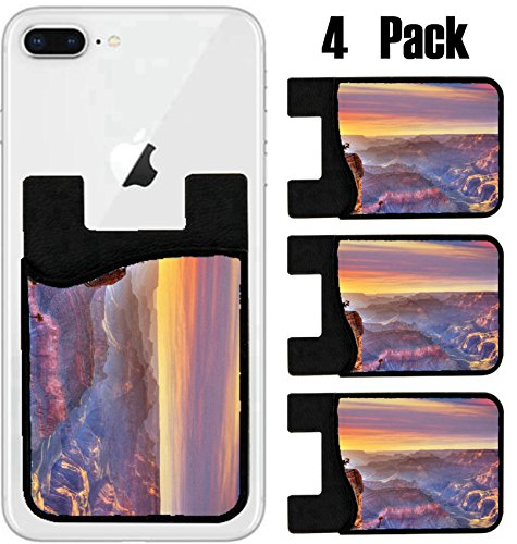 MSD Phone Card holder, sleeve/wallet for iPhone Samsung Android and all smartphones with removable microfiber screen cleaner Silicone card Caddy(4 Pack) Arizona sunset Grand Canyon National Park Yavap by MSD