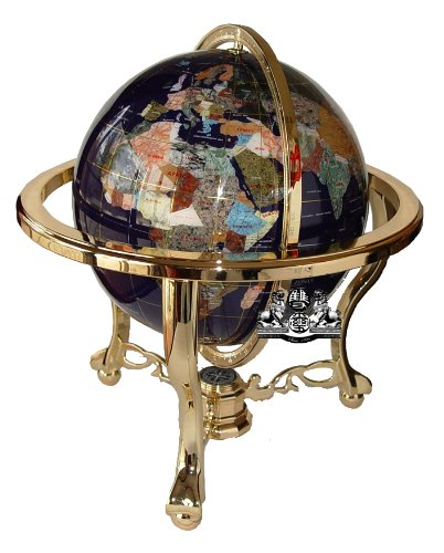Gemstone Mm Globe 330 (Unique Art 21-Inch Tall Blue Lapis Ocean Table Top Gemstone World Globe with Gold Tripod)