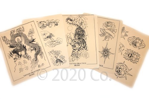 10 Pc Tattoo Practice Design Skins - 8x6 Inch - 2020 Co. (Personal Tattoo Design)