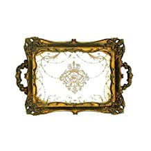 Creative Co-Op Antique Gold Resin Mirrored Tray