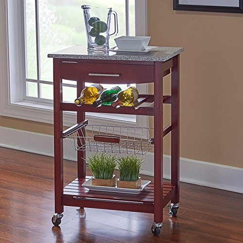 (Porch & Den Prospect Hill Sanborn Wenge and Granite Top Mobile Kitchen Island with Wine)
