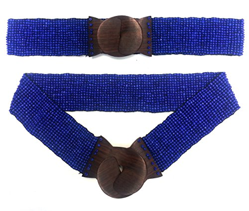 "Shiny Dark Blue Hand-made Elastic Stretchy Beaded Bali Belt With Wooden Hook Buckle – 2 1/4"" Wide"