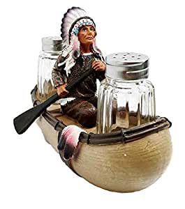 Decorative Native American Indian Trade Boat Chief With Headdress Glass Salt and Pepper Shaker Figurine Set