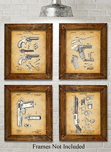 Original Remington Guns Patent Art Prints - Set of Four Photos (8x10) Unframed - Great Gift for Gun Owners, Military Army or Marine
