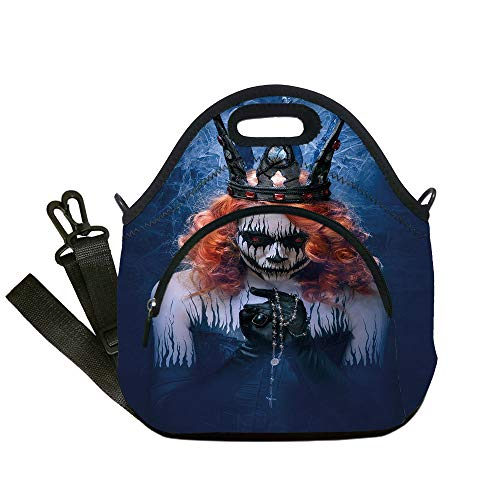 Insulated Lunch Bag,Neoprene Lunch Tote Bags,Queen,Queen of Death Scary Body Art Halloween Evil Face Bizarre Make Up Zombie,Navy Blue Orange Black,for Adults and children