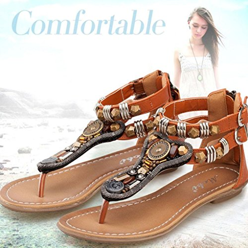 Sandals Zipper Flat Summer Women Brown Flip Beach Flops AMA Toe Sandals TM Clip Retro Shoes UPIppE1qW