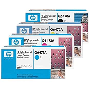 Genuine HP 4-Pack Toner Cartridge Set for HP Color LaserJet 3600 Printer Series 3600n 3600dn. 501A 502A Q6470A Q6471A Q6472A Q6473A In Retail Package