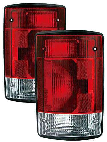 (For 2004 2005 2006 2007 2008 2009 2010 2011 2012 2013 2014 Ford Econoline Van | Excursion Rear Tail Light Taillamp Driver Left and Passenger Right Side Pair Set Replacement FO2800190 FO2801190)