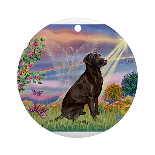 (CafePress Cloud Angel/Lab (c) Ornament (Round) Round Holiday Christmas Ornament)
