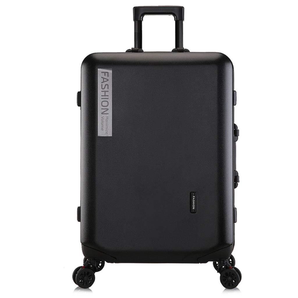 トロリーボックスカスタムPCジッパーユニバーサルホイール荷物ファッションビジネスパスワード20インチのボーディングアウトドアスーツケース (Color : ブラック, Size : 22 inches)   B07R8X7FV1