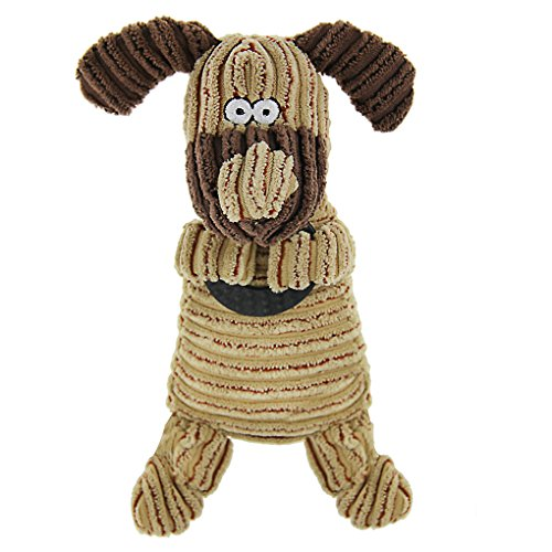 Cute Animal Shape Corduroy Durable Pet Dog Cat Stuffed Chew Toy Teeth Cleaning Training Squeaker Play Chew Rope Toys Teether for Small Medium Dogs Puppies Plush Sound Squeaky Toy Pet Plaything Puppet ()