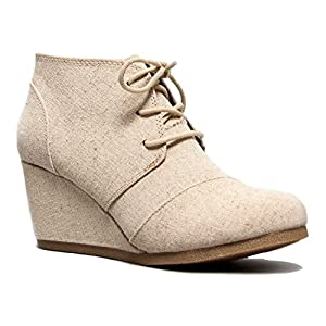 J. Adams Wedge Ankle Boot - Low Heel Bootie - Casual Comfortable Lace Up Heel û Fashion Short Heeled WomenÆs Bootie