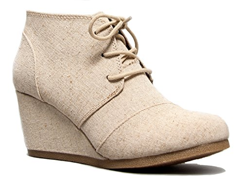 Wedge Ankle Boot - Low Heel Bootie - Casual Comfortable Lace Up Heel û Fashion Short Heeled WomenÆs Bootie
