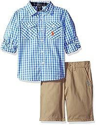 U.S. Polo Assn. Little Boys\' Long Sleeve Gingham Check Woven Shirt and Twill Short, Plaid, 5