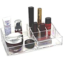 d'Moda Designs Crystal Clear Acrylic Makeup Organizer Tray. Premium Quality Cosmetic Storage for Lipsticks and Space for Brushes, Skincare, Nail Polish, Blush and More.