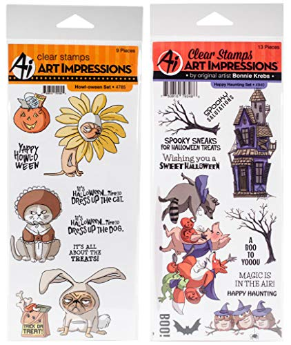 Art Impressions - Howl-oween and Happy Haunting Clear Stamp Sets - 2 Item Bundle