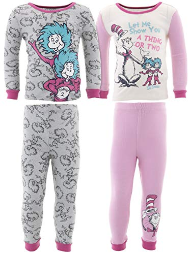 Dr. Seuss Thing 1 Thing 2 Little Girls' Cotton 2-Pack Pajamas 2T