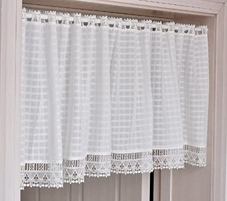 FADFAY Home TextileElegant Bedroom White CurtainsDesigner Gingham Short CurtainsModern