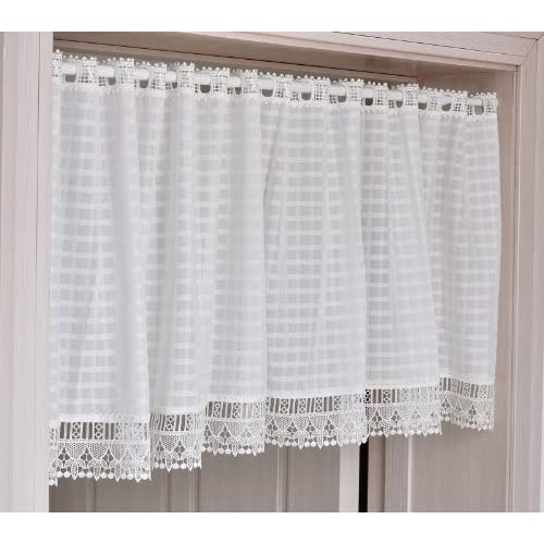 FADFAY Home Textile,Elegant Bedroom White Curtains,Designer White Gingham Short  Curtains,Modern