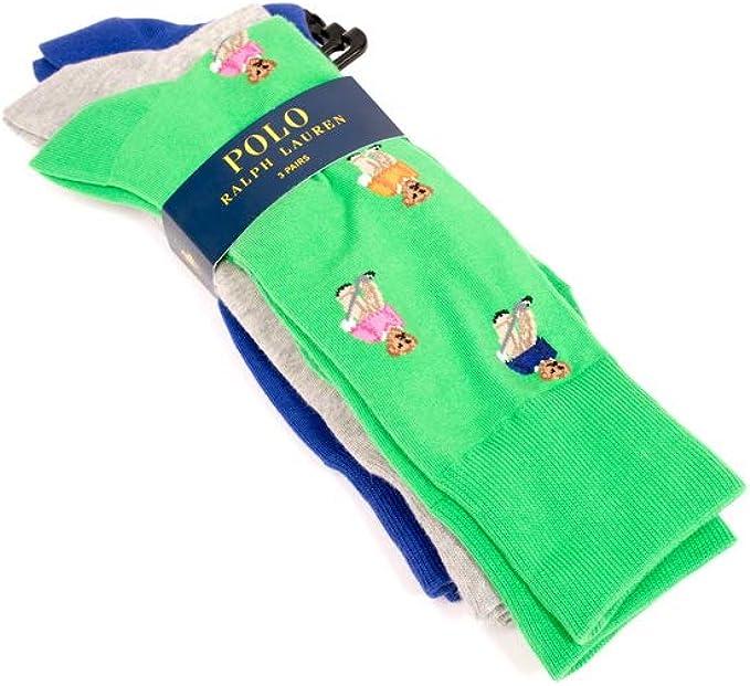 Ralph Lauren - Calcetines de polo, diseño de oso, color gris y ...