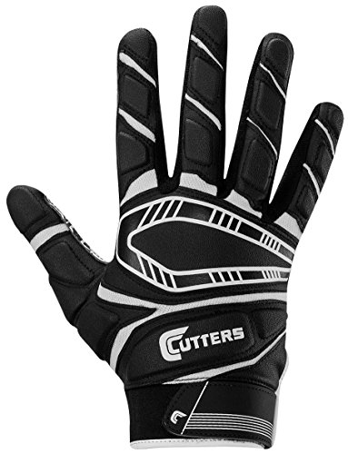 Cutters Game Day Padded Football Glove, Grip All- Purpose Player Football Glove, Youth & Adult Sizes, 1 Pair (Cutter Grip)