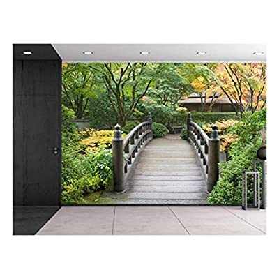 Premium Product, Handsome Picture, Bridge on a Serene Japanese Garden Surrounded by Trees Wall Mural
