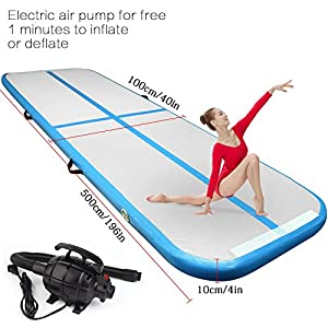 FBSPORT 9.84ft/13.12ft/16.4ft/19.68ft/22.96ft/26.24ft Training mat Inflatable Gymnastics airtrack with Electric Air Pump for Practice Gymnastics, Tumbling,Parkour, Home Floor