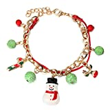 Christmas Stocking Santa Claus Gift Tree Snowman Snowflake Charm Bracelet with Red String