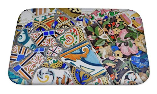 Gear New Bath Rug Mat No Slip Skid Microfiber Soft Plush Absorbent Memory Foam, Gaudi Mosaic In Guell Park In Barcelona Spain, 24x17 by Gear New