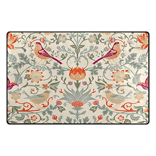 - William Morris Flower Non-Slip Indoor Outdoor Entrance Rug Floor Mat Doormatsfor Home 60 x 39 inches