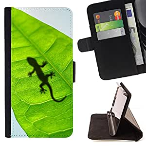 BullDog Case - FOR/LG G2 D800 / - / Cute Lizard Leaf Reptile Gecko /- Monedero de cuero de la PU Llevar cubierta de la caja con el ID Credit Card Slots Flip funda de cuer