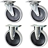 """Rubbermaid Replacement Cart Casters - 5"""" Non-marking Wheel 4400, 4500 Series Set of 4"""