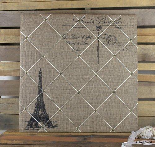Burlap Eiffel Tower Message Board ~ Push Pin ~24x24