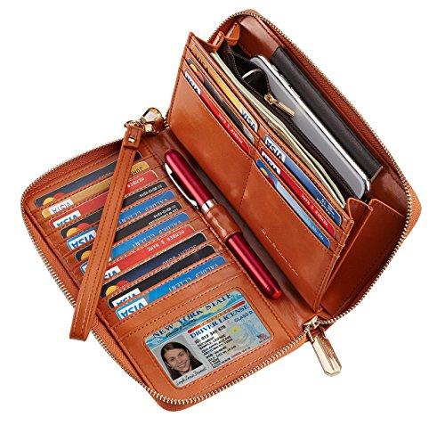 SimpacX Chelmon Womens RFID Blocking Wallet Genuine Leather Zip Around Clutch Large Travel Wallet Purse Passport Holder (wax tan) ()