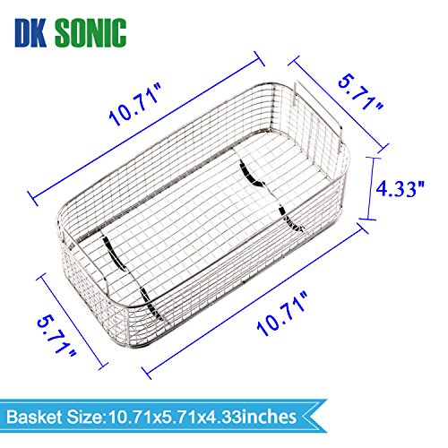 Large Ultrasonic Gun Cleaner Heated - DK SONIC 6L 180W Ultrasonic Parts Cleaner with Heater Basket for Retainer Jewelry Carburetor Eyeglass Ring Fuel Injector Glasses Record Circuit Board 40KHz by DK SONIC (Image #7)